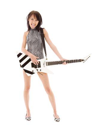 白のエレク トリック ギターの女の子の写真 写真素材