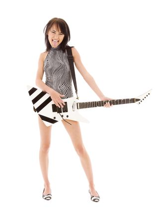female tongue: picture of girl with electric guitar over white