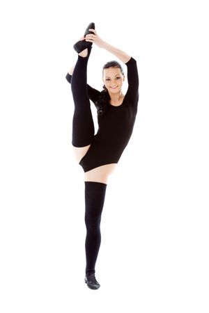 fitness instructor in black leotard over white Stock Photo - 4349318