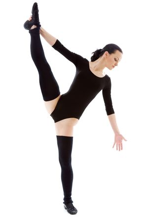 fitness instructor in black leotard over white Stock Photo - 4359455
