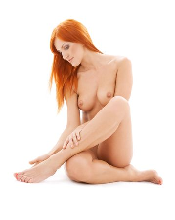bright picture of healthy naked redhead over white Stock Photo - 4359458