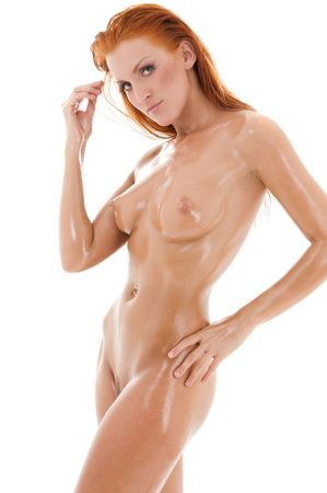 picture of healthy naked redhead over white Stock Photo - 4359451