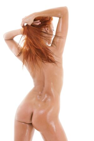 picture of healthy naked redhead over white Stock Photo - 4359467