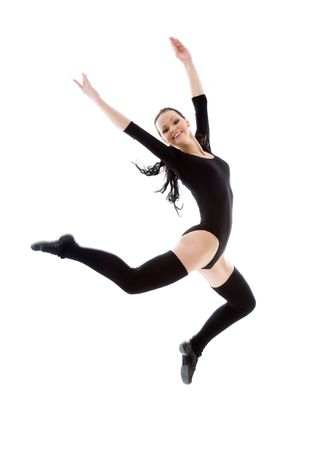 weightless: picture of jumping girl in black leotard over white