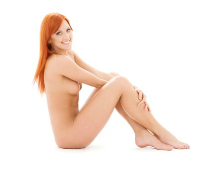 bright picture of healthy naked redhead over white Stock Photo - 4367294