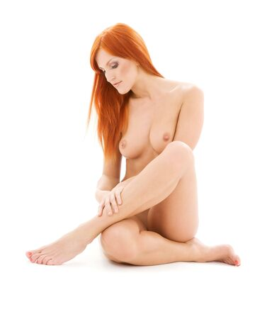 bright picture of healthy naked redhead over white Stock Photo - 4376569