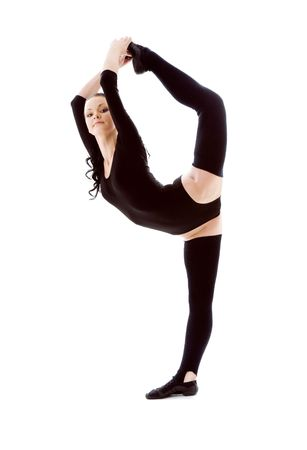 fitness instructor in black leotard over white Stock Photo - 4387668