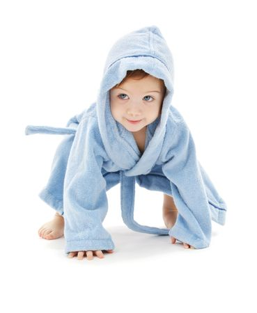 robe: baby boy in blue robe over white