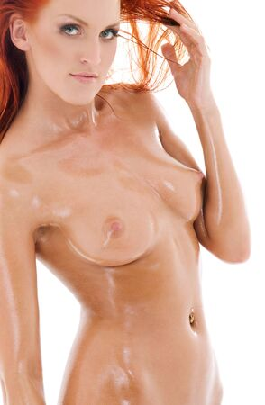 picture of healthy naked redhead over white Stock Photo - 4387659