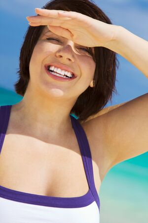 picture of happy woman on the beach Stock Photo - 4397005