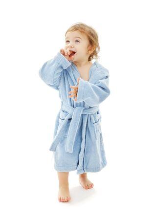 white robe: baby boy in blue robe over white