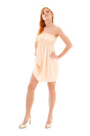 picture of tall redhead woman over white Stock Photo - 4397014