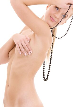 bright picture of lovely naked woman with black beads Stock Photo - 4397026