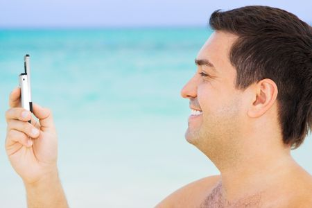 picture of happy man with cell phone Stock Photo - 4413796