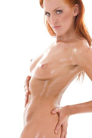 picture of healthy naked redhead over white Stock Photo - 4413803
