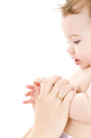 picture of happy baby in mother hands Stock Photo - 4439146