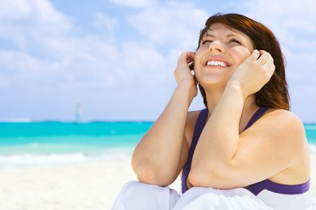 picture of happy woman on the beach Stock Photo - 4439171