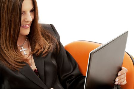 businesswoman in chair with laptop computer over white Stock Photo - 4439177