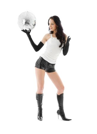 picture of woman in leather shorts with disco ball