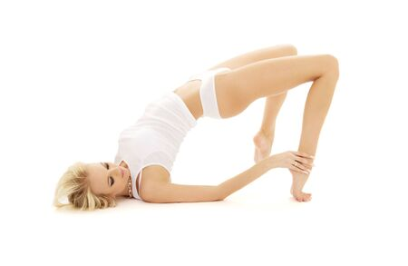 slim girl in white underwear working out Stock Photo - 4451466