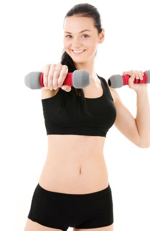 lovely fitness instructor with dumbbells over white Stock Photo