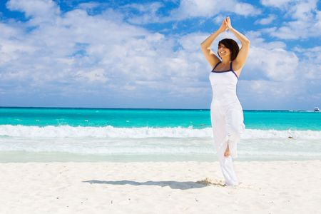 meditation of happy woman on the beach Stock Photo - 4470516