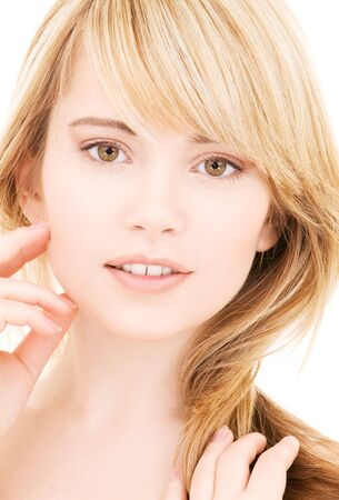 bright picture of lovely blonde over white Stock Photo - 4470514