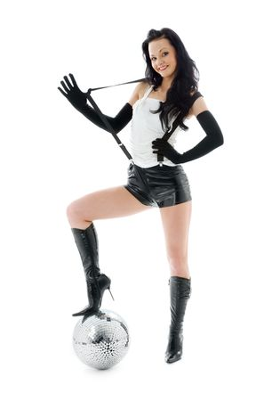 picture of woman in leather shorts with disco ball Stock Photo - 4480378