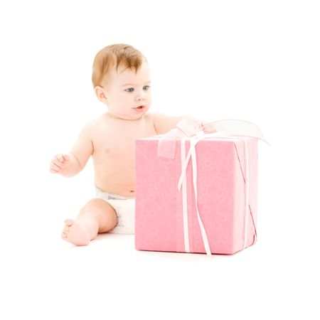 picture of baby boy with big gift box Stock Photo - 4480373