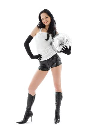 latex girl: picture of woman in leather shorts with disco ball