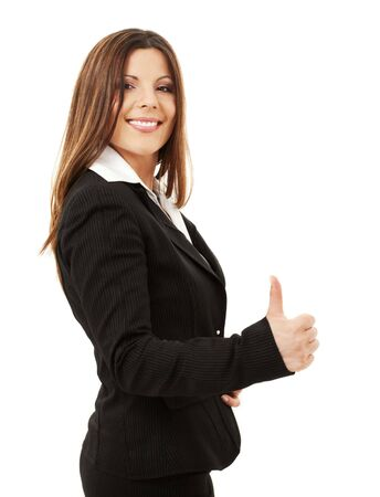 picture of happy successful businesswoman over white Stock Photo