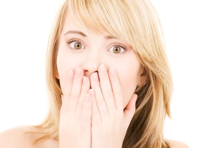 picture of surprised girl face over white Stock Photo - 4496052