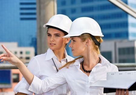 contractors in a front of building site Stock Photo - 4512513