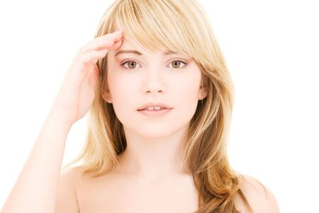 bright picture of lovely blonde over white Stock Photo - 4512514