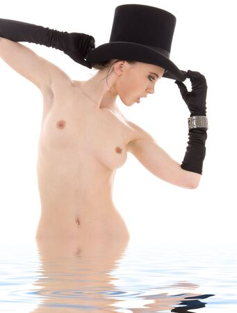 picture of naked dancer in top hat in water Stock Photo - 4516050