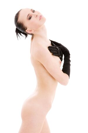 lovely naked woman in black gloves over white Stock Photo - 4523444