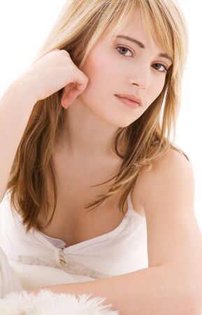 bright picture of lovely teenage girl in white cotton shirt Stock Photo - 4593737