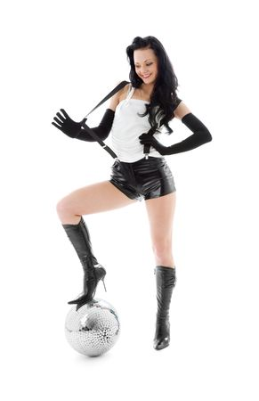 picture of woman in leather shorts with disco ball Imagens