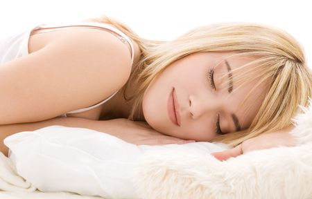 drowse: bright closeup picture of sleeping teenage girl