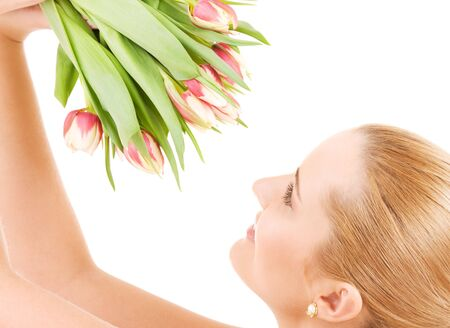 picture of happy woman with flowers over white Stock Photo - 4573432