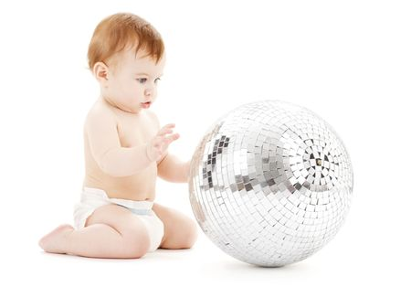 adorable baby boy with big disco ball over white Stock Photo - 4584682