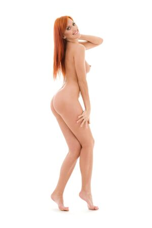 sexy woman nude: picture of tall redhead woman over white