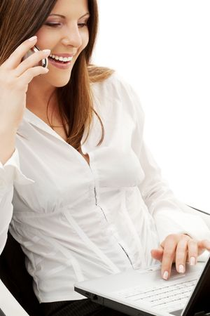 businesswoman in chair with laptop and phone over white Stock Photo - 4606813
