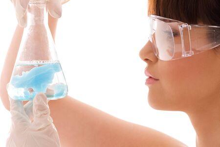 beautiful female lab worker holding up test tube Stock Photo - 4614306