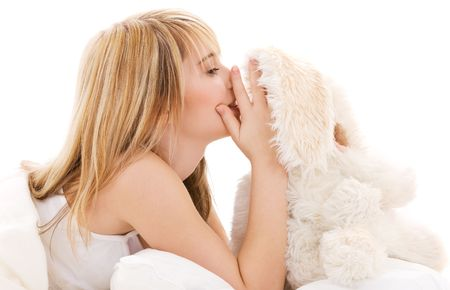 picture of teenage girl with plush toy Stock Photo - 4614311