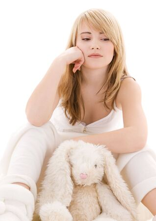 picture of teenage girl with plush toy Stock Photo