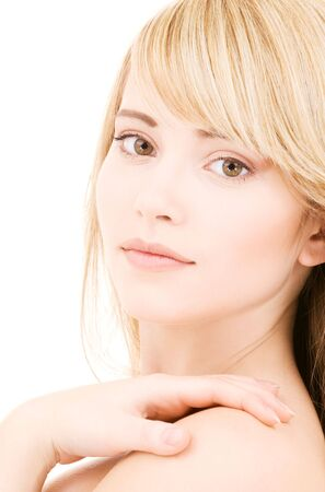bright picture of lovely blonde over white Stock Photo - 4614304