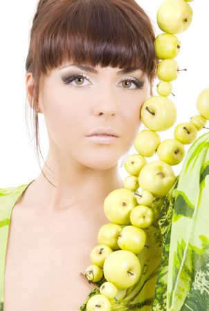 picture of beautiful woman with green apples Stock Photo - 4614321