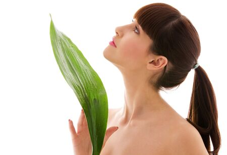 picture of woman with green leaf over white Stock Photo - 4620995