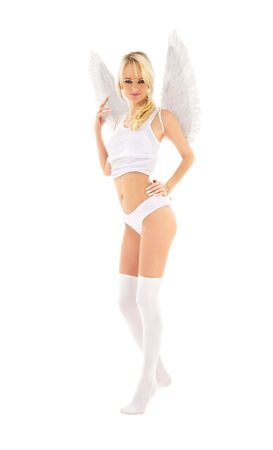 picture of lingerie angel in stockings over white Stock Photo - 4620984